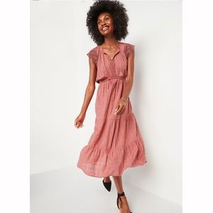 Old Navy Boho Style Red Midi Dress w Embroidery 2x